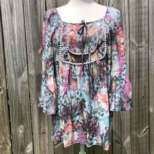 Spense Floral Tunic with Bell Sleeves